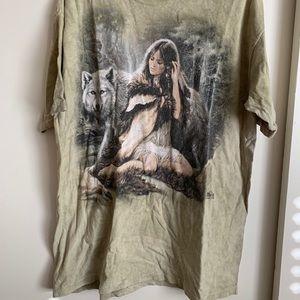 Vintage the Mountain Tie Dye Wolf Shirt